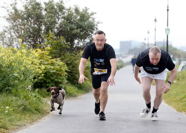 'On Your Marks' - media presenters Matt Cooper and Brendan Courtney prepare to run in the 2019 Achill Half Marathon & 10K