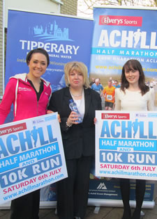 Claire Mc Glynn Elverys Sports Brand Ambassador with Mary B Gallagher of Achill Half Marathon and Siobhán Comerford, Manager, Achill Tourism